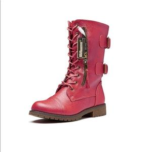 Daily Shoes Red Combat Boots Buckle Zip